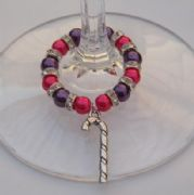 Candy Cane Wine Glass Charm - Full Sparkle Style